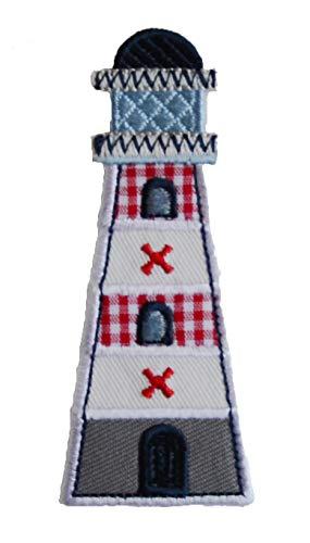 TrickyBoo 2 Aufbügler Leuchtturm 4X9cm Blume Eule 8X9cm Set Aufnäher Flicken Applikationen zum Ausbessern von Kinder Kleidung mit Design Zürich Schweiz für Deutschland und Österreich