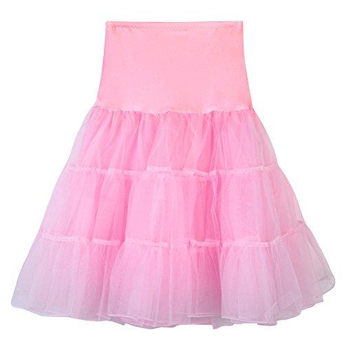 Damen Röcke, VEMOW Frauen hohe Taille Plissierter kurz Tutu Tanzender Karneval Mini Rock(X1-Rosa, M)