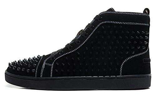 Saman Sneakers Unisex Louis orlato Veau Velours alto lacci camoscio nero con punte Casual Scarpe Da Ginnastica, Uomo, Black, 40