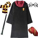 IWFREE Enfants Adultes Déguisement Harry Potter Hermione Gryffondor Granger Uniforme Outfit Set Baguette Cravate Écharpe Lunettes Halloween Noël Anniversaire Fête Costume Cosplay S-2XL 115-155cm