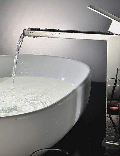 PJSKJZQ Contemporaneo Installazione centrale Cascata with Valvola in ceramica Una manopola Un foro for Cromo , Lavandino rubinetto del bagno