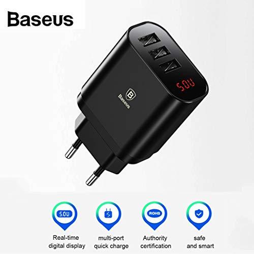 Mumuj USB Ladegerät Mehrfach 3-Port 17W 5 V / 3,4 A Ladeadapter mit LED Display Schnellladegerät mit PowerIQ für iPhone X/8/8 Plus für Galaxy S9/S9 Plus/S8/S8 Plus/Note für iPad für Sony (Schwarz)