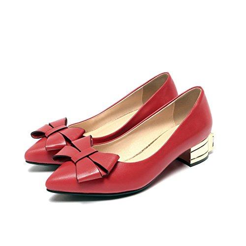 VogueZone009 Femme Tire à Talon Bas Verni Couleur Unie Pointu Chaussures Légeres Rouge