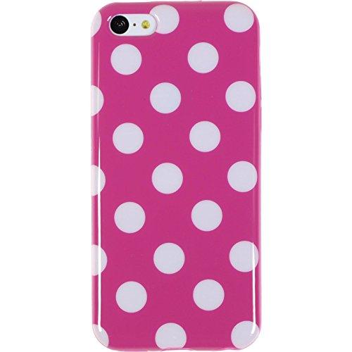 PhoneNatic Case für Apple iPhone 5c Hülle Silikon Design:01 Polkadot Cover iPhone 5c Tasche + 2 Schutzfolien Design:03