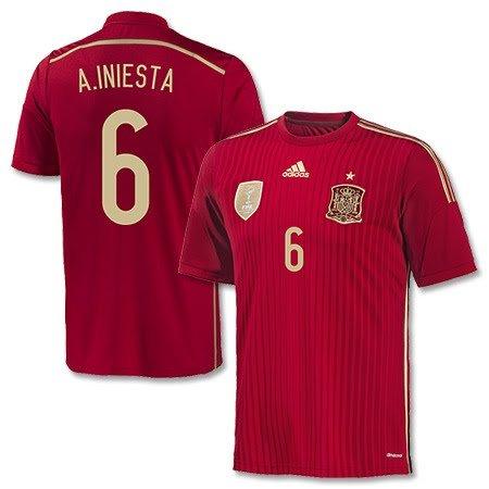 Spanien Home Trikot 2014 + A. Iniesta 6 - XL