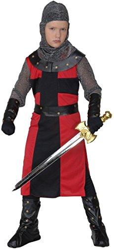erkostüm - schwarzer Ritter, langes Gewand, Gürtel, Armbänder, Helm und Üœberstiefel, Größe 140 (Mittelalterliche Ritter Für Kinder)