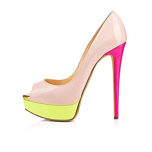 CYMIU 2018 Womens Ladies Large Size 40-46 Hochhackige Wasserdichte Plattform Fisch Mund Patent Leder Einzelne Schuhe Nähte Multicolor, 41 Pink Patent Plattform