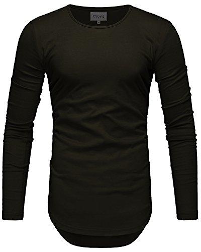 Crone Yuma Slim Fit Oversize Herren Rundhals Longsleeve Basic Langarm T-Shirt in vielen Farben Vegan (M, Oliv Grün)