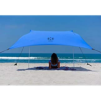 Neso Tienda de campaña Tents Beach con Ancla de Arena, toldo portátil Sunshade – 2.1m x 2.1m – Esquinas reforzadas patentadas(Bigaro Azul)