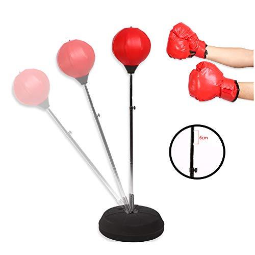 Cocoarm Punchingball Erwachsene Boxtraining Set Punchingball Kinder Trainer Speedball Standboxball mit Boxhandschuhen und Ständer Verstellbar Höhe 120-150 cm