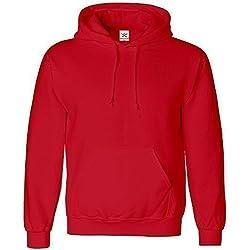 Estrella y rayas - De talla pequeña rojo sudadera de estilo clásico unisex (para hombre y para mujer) con capucha