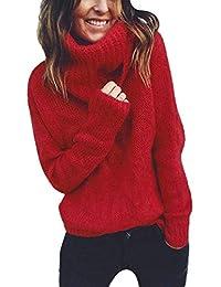eadffa987f253f Pullover Maglione a Maniche Lunghe con Collo Alto a Manica Lunga Donna  Pullover Top Camicetta Fashion