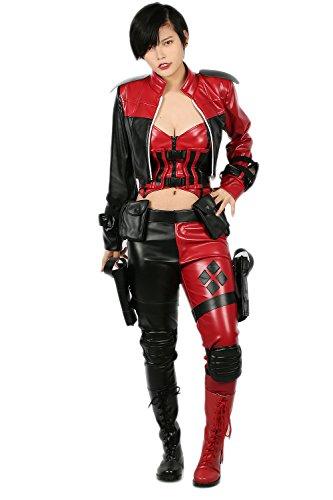 Xcoser Halloween Damen Kostüm Sexy Spiel Cosplay Anzug PU Voller Outfits Rot Schwarz Kleidung für Frauen Verrücktes Kleid (Harley Quinn Voller Kostüm)