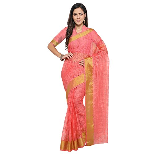 sarvagny clothing art silk peach color daily wear party wear saree with...
