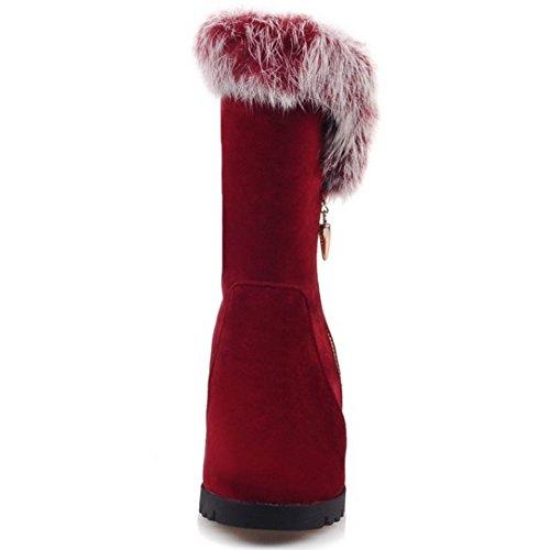 TAOFFEN Damen Winter koreanische Art Wildleder -Absatzschuhe Knöchel zunehmender Höhe Schneeschuhe mit Kunstfell Rot