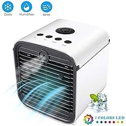 Refroidisseur d'Air Climatiseur Personnel Mobile Air Cooler 4 en 1 Ventilateur Climatiseur Humidificateur Purificateur d'air Aromathérapie, 3 Fichiers, avec 7 Couleurs Veilleuse Lumière Ultraviolette