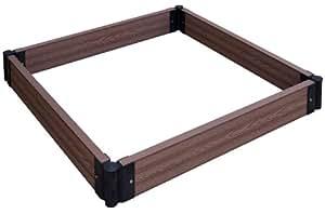 Bac potager surélevé Gartenfreude EVERFLOOR en WPC (bois composite), extensible et empilable, marron, 80 x 70 x 14 cm (LxlxH)