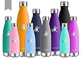 KollyKolla Bottiglia Acqua in Acciaio Inox, 650ml Senza BPA Borraccia Termica, Isolamento Sottovuoto a Doppia Parete, Borracce per Bambini, Scuola, Sport, All'aperto, Palestra, Yoga, Grigio