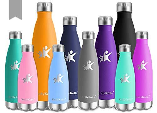 KollyKolla Bottiglia Acqua in Acciaio Inox, 750ml Senza BPA Borraccia Termica, Isolamento Sottovuoto a Doppia Parete, Borracce per Bambini, Scuola, Sport, All'aperto, Palestra, Yoga, Grigio