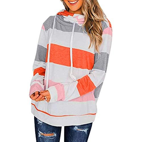 Iwähle ♥ Womens Color Block gestreiften Sweatshirt Rundhals Langarm lose Pullover Tops (Orange, - 70er Jahre Kostüm Zum Verkauf