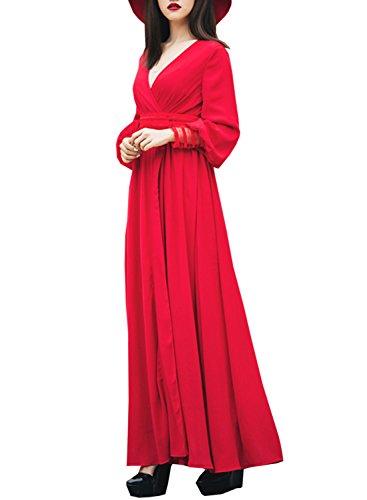 Futurino Femme Printemps/été Sexy Rouge Décolleté V Profond High Taille Side Slit Maxi Robe Longue Soirée Plage Rouge