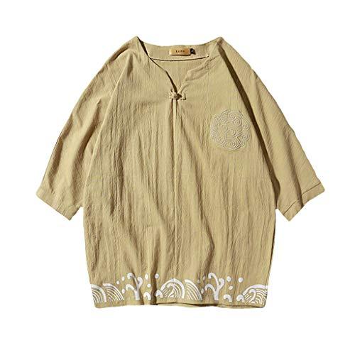 sunnymi  2PC Herren Outfit, Leinen Set Kurzarm Sommer Freizeit Casual Short Thin Sets -