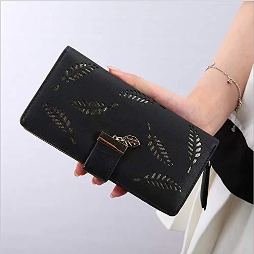 WZXSMDY Frauen Reißverschluss Lange Geldbörse verlässt Hohle Clutch Bag Mädchen kleine frische Geldbörse (Color : Black) (Zu Verlässt Thanksgiving)
