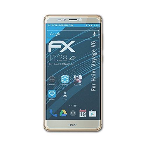 atFolix Schutzfolie kompatibel mit Haier Voyage V6 Folie, ultraklare FX Bildschirmschutzfolie (3X)