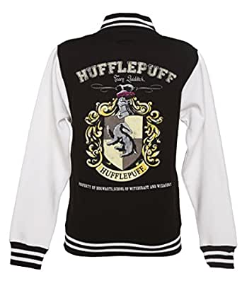 harry potter hufflepuff quidditch team damen college jacke schwarz bekleidung. Black Bedroom Furniture Sets. Home Design Ideas