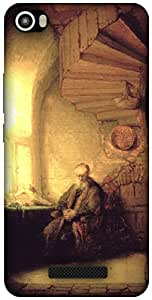 The Racoon Lean Philosopher in meditation - Rembrandt hard plastic printed back case / cover for Lava Iris X8