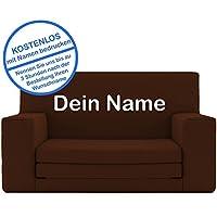 2 in 1 Kindersofa in Espresso Braun mit Waschbarem Überzug - Als Geschenk Individuell Bedrucken - Schaumstoff aus Deutschland Spielzeug Couch und Bett Schlaf Matratze zum Auffalten für Kinder von 1-4