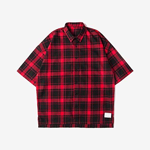 Honghu Herren Freizeit kurze Ärmel Hemden Rot