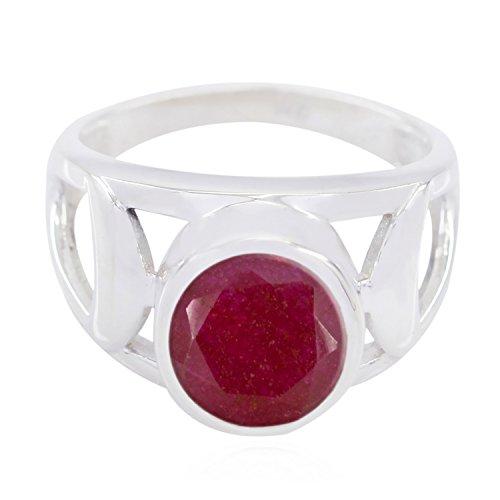 (echte Edelsteine runden facettierten indischen Rubinringe - Sterling Silber roten indischen Rubin echten Edelsteinen Ring - Großhandel Schmuck meistverkauften Artikel Geschenk für)