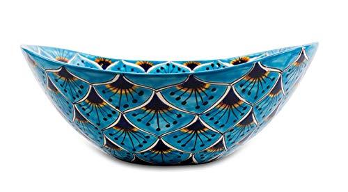 Azura - Mexikanisches Waschbecken | Buntes Ovales Aufsatzwaschbecken aus Mexiko | Bunte dekorative Motive Ideales Badezimmer und Gäste-WC mit Fliesen in Holzoptik, Zementfliesen und rustikalem Schrank