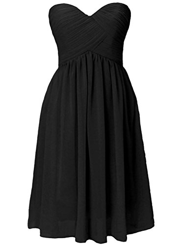 Azbro Women's Simple Bandeau Ruffled Design Bridesmaid Dress Grey