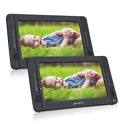 PUMPKIN Lecteur DVD Portable Voiture Double Ecran d'appuie-tête pour Enfant 10,1 Pouce supporte USB SD MMC Autonomie de 5 Heures avec Sangle de Fixation dans Voiture (Un Lecteur DVD et Un Moniteur)