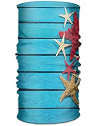 ce6d0f45f2 ERCGY Woman's Man Turban Different Types of Starfishes Scallops On Blue  Painted Wooden Planks Get Together