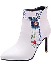 7ba79f64df0e YE Bottines Femme Fleurs Bout Pointu à Talon Haut Aiguille Zip Bottes  Courtes Chaude Hiver Ankle