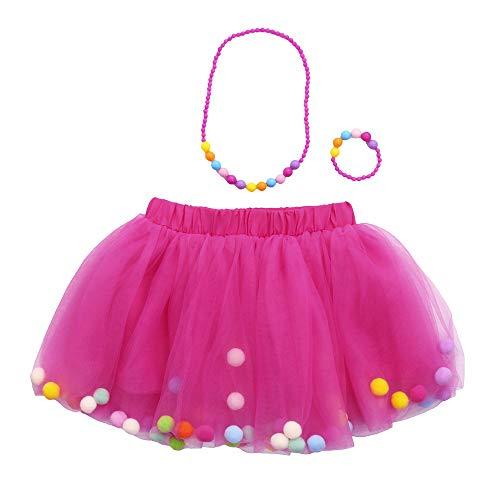 Vectry Bekleidungssets Baby Mädchen Kinder Outfits Tüllrock Tutu Rock + Armband + Halskette Set(0T-10T)(HotPink,6-10 Jahre)