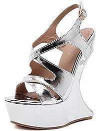 GLTER Las mujeres de tacón abierto Tacones Sandalias de verano de tacón alto en forma de escritorio impermeable Nightclub con Encanto Zapatos , silver , 36