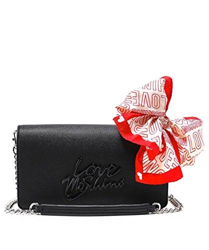 Love Moschino Damen Borsa Saffiano Pu Logo Nero Baguette, schwarz (Black Logo), 5 x 14 x 24 cm
