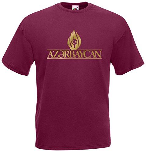 Aserbaidschan Azerbeycan T-Shirt Fanshirt Burgund
