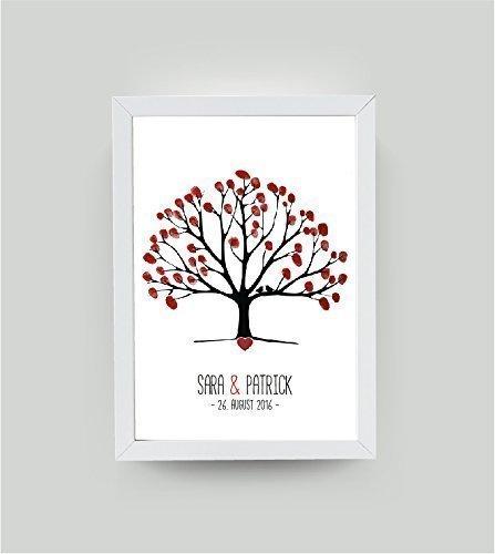 personalisiertes Bild Hochzeitsgästebuch A3 Hochzeitsbaum Weeding Tree, Geschenk zur Hochzeit, Gastgeschenk