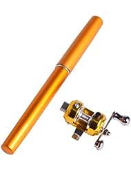 Andux mini canne à pêche portable canne à pêche stylo pêche à la canne à pêche en roche canne à pêche d'eau salée GBG-01