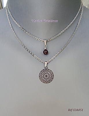 Collier multi rangs fin délicat ras de cou acier minimaliste : pierre véritable au choix, estampe filigrane