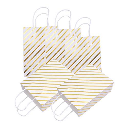 Geschenk Tasche Glänzende Twill Gedruckt doppelseitige Papierhandtasche Süßigkeitstasche für Einkaufsgeschenk Parteibevorzugung (Golden) ()