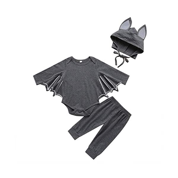 HAOHEYOU Halloween Cosplay Costume Romper Hat Outfits Set For Toddler Newborn Baby Boys Girls Outfit Bodysuit 4