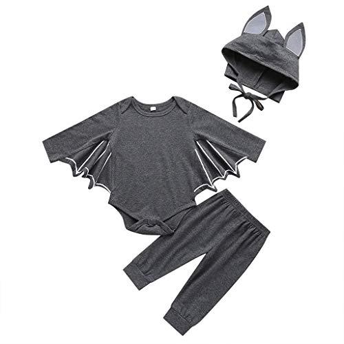 Kostüm Süße Selbstgemacht Kinder - Lazzboy Kleinkind Neugeborenes Baby Jungen Mädchen Halloween Cosplay Kostüm Strampler Hut Outfits Set Junge Fledermaus Kleidung Sets| Toddler Infant Girl Boy Bat(Dunkelgrau,Höhe:90)