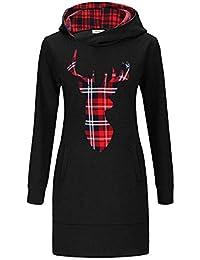 9cc1fd183bfe45 KorMei Damen Langarm Hoodie Bodycon Stretch Sweatshirt Midi Kleider mit 2  Taschen