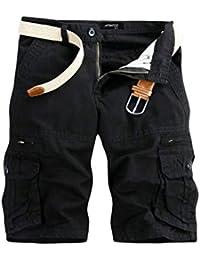 c0f6d9aaeb05 TEBAISE Pants Pure Color Shorts Herren Outdoor Taschen Strand Arbeit Hosen  Cargo Pant 3 4
